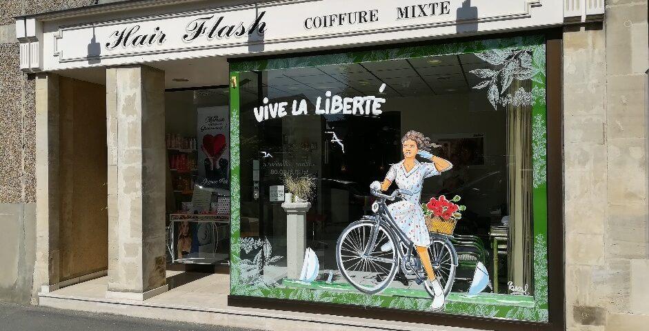 vitrine-peinture-hairflash-bayeux-75-anniversaire